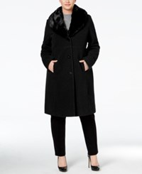 Jones New York Plus Size Faux Fur Collar Walker Coat Black