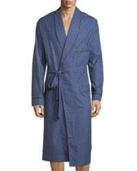 Neiman Marcus Brushed Flannel Robe Navy