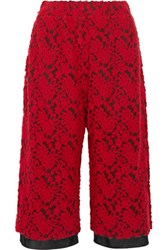 Maison Martin Margiela Mm6 Cropped Flocked Mesh Wide Leg Pants Crimson