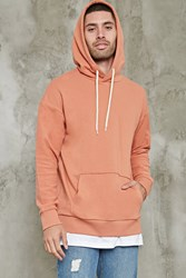 Forever 21 Reverse French Terry Hoodie Coral