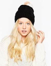 Urbancode Beanie Hat With Faux Fur Pom Pom Blackpinkwhite