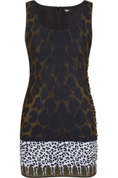 Versus Safety Pin Embellished Leopard Print Crepe De Chine Mini Dress