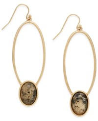 Inc International Concepts Gold Tone Oval Stone Drop Earrings Only At Macy's