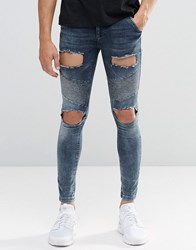 Sik Silk Siksilk Skinny Biker Jeans With Extreme Rips Blue