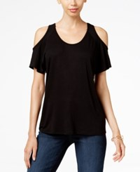 Kut From The Kloth Low Back Cold Shoulder Top Black