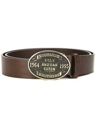 Dsquared2 Embossed Plaque Belt Brown
