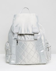 Asos Lifestyle Oversized Satin Backpack With Zipped Pockets Silver Grey
