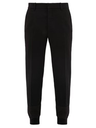 Alexander Mcqueen Hybrid Panelled Cuff Wool Twill Trousers Black