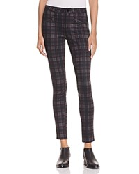 Aqua Large Plaid Zip Legging Pants Grey Burgundy