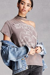 Forever 21 Ripped Led Zeppelin Band Tee Grey
