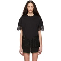 Mcq By Alexander Mcqueen Black Slouchy Lace T Shirt