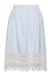 French Connection Nuru Schiffley High Waisted Lace Skirt Blue