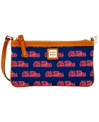 Dooney And Bourke Ole Miss Rebels Large Wristlet Navy Red Brown