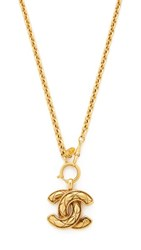 Wgaca What Goes Around Comes Around Chanel Quilted Cc Necklace Previously Owned Gold
