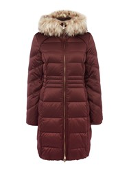 Eliza J Satin Down Coat With Faux Fur Hood Dark Red