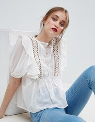 Asos Ruffle Blouse With Eyelet Detail And Lace Insert Cream