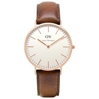 Daniel Wellington 0106Dw Men's St Andrews Rose Gold Plated Leather Strap Watch Tan White