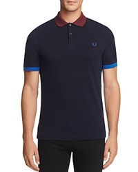 Fred Perry Color Block Slim Fit Polo Shirt Navy