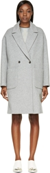 Msgm Heather Grey Wool Double Breasted Overcoat