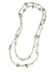 Carolee The Rockettes Green Jade And Faux Pearl Rope Necklace