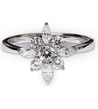 Carat London Camelia White Gold And Gemstone Ring Silver