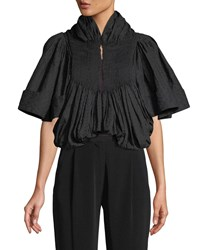 Co Embroidered Voile Pleated Cropped Jacket Black