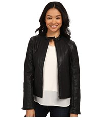 Calvin Klein Jeans Pu Vertical Quilt Jacket Black Women's Coat