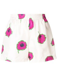 La Doublej Floral Fitted Shorts Neutrals