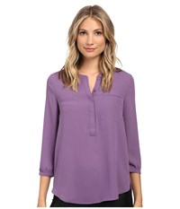 Nydj 3 4 Sleeve Pleat Back Nordic Lavender Women's Blouse Purple