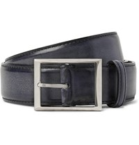 Berluti 3Cm Black Burnished Leather Belt