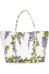 Dolce And Gabbana Escape Medium Floral Print Textured Leather Tote