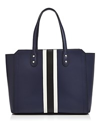 Ivanka Trump Soho Solutions Work Striped Leather Tote Eclipse Blue Black White Silver
