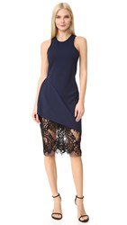 Michelle Mason Racer Dress With Lace Skirt Navy