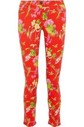 Etro Woman Printed Mid Rise Skinny Jeans Red