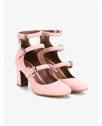 Tabitha Simmons Ginger Suede Triple Strap Pumps Ginger Silver Orange Pink