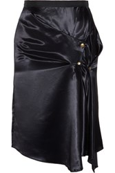 Nina Ricci Draped Satin Wrap Effect Skirt Midnight Blue