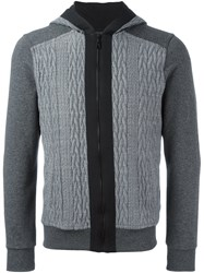 Christian Pellizzari Cable Knit Panel Hoodie Grey