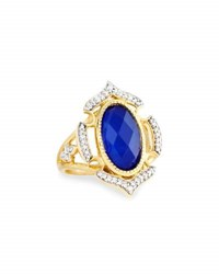 Jude Frances Malta 18K Lapis And Diamond Cocktail Ring Size 6.5
