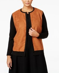 August Silk Plus Size Colorblocked Faux Suede Cardigan Black Vicuna