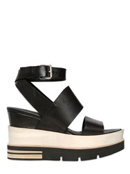 Elena Iachi 100Mm Leather And Wood Wedge Sandals
