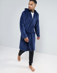 Asos Hooded Fleece Dressing Gown In Navy Medieval Blue