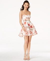 Trixxi Juniors' Strapless Fit And Flare Dress Ivory Peach Floral