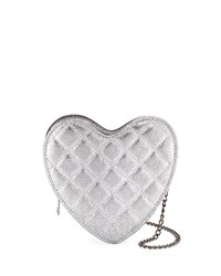 Hannah Banana Girls' Metallic Quilted Heart Crossbody Bag Silver