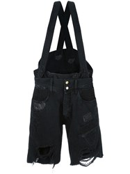 Faith Connexion Suspenders Ripped Shorts Black