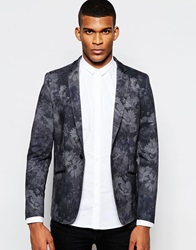 Vito Jersey Blazer With Floral Print In Slim Fit Black