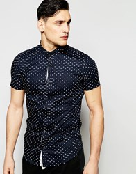 Vito Short Sleeve Shirt With All Over Heart Print Black