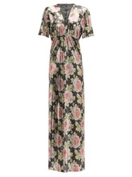Paco Rabanne Rose Print Chainmail Maxi Dress Black Pink