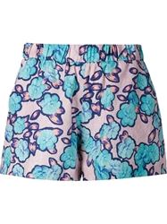 Viktor And Rolf Flower Print Jacquard Shorts Pink And Purple