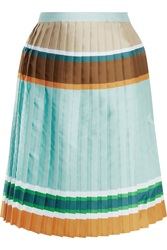 Ostwald Helgason Pleated Striped Twill Skirt Green