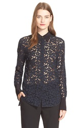 3.1 Phillip Lim Lace Button Down Shirt Midnight